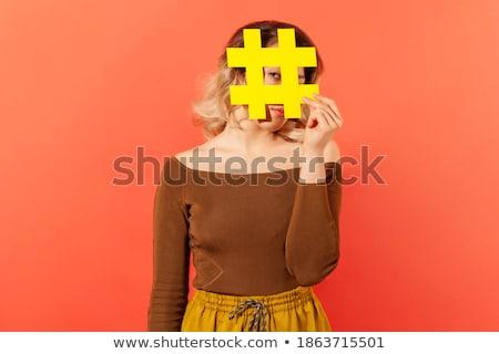 mulher · faces · atrás · laranja · branco - foto stock © Rob_Stark