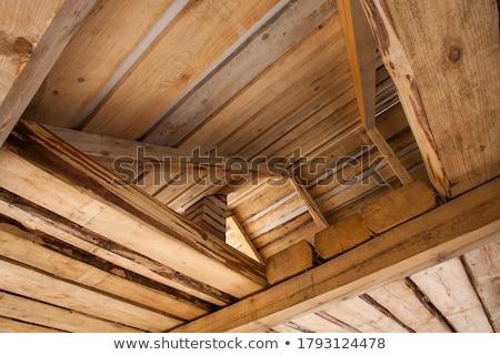 Fából készült váz öreg homlokzat fél ház Stock fotó © franky242