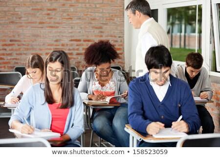 klas · twee · kinderen · studenten · test · examen - stockfoto © lisafx