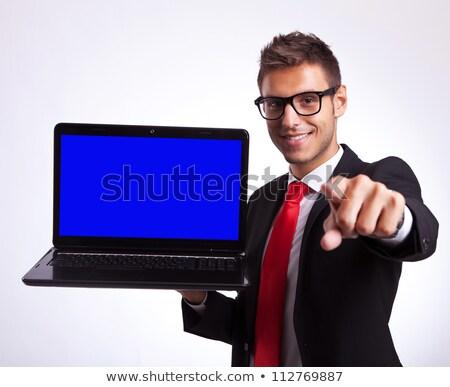 optikus · bemutat · szemüveg · férfi · szemorvos · új - stock fotó © feedough