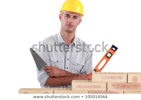 Tradesman holding up a bubble level and a trowel Stock photo © photography33