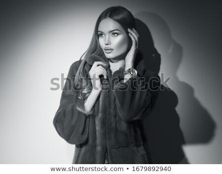 гламур · красоту · моде · женщину · позируют · мех - Сток-фото © gromovataya