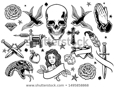 coração · tatuagem · flor · rosa · moda · arte - foto stock © creative_stock