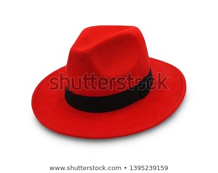 Kırmızı fötr şapka güzel sarışın kadın şapka Stok fotoğraf © carlodapino