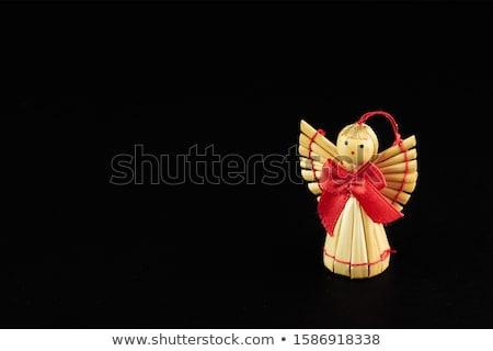 Noel · melek · gülen · altın · saç · beyaz - stok fotoğraf © Mazirama