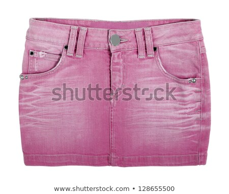 beautiful girl in jeans mini skirt isolated stock photo © acidgrey