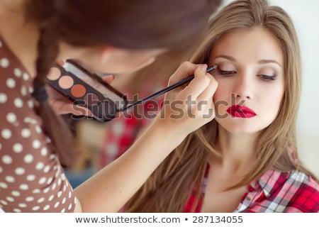 aanlokkelijk · schoonheid · portret · make-up · blond · jong · meisje - stockfoto © carlodapino