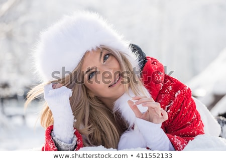 Blonde with a furry hat  Stock photo © oneinamillion