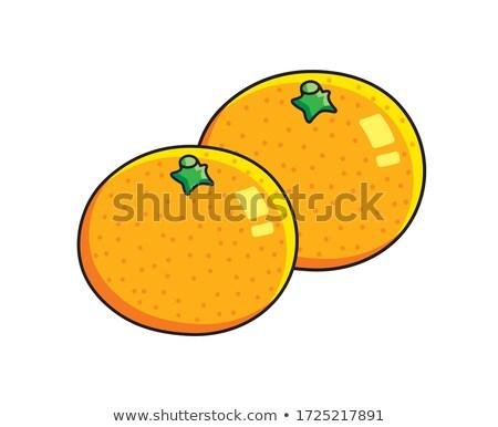 Stockfoto: Twee · sinaasappelen · geïsoleerd · witte · achtergrond · oranje