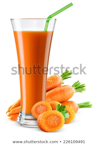 Glass of carrot juice and carrot  isolated on white background stock photo © vaeenma