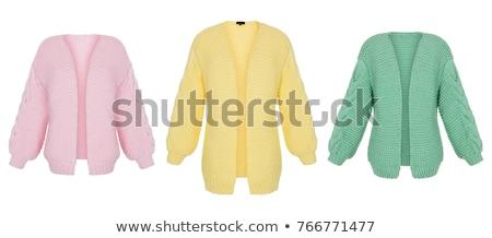 pembe · örgü · ceket · yalıtılmış · renk · beyaz - stok fotoğraf © ruslanomega