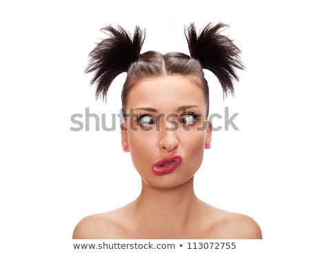 Stock fotó: Fiatal · nő · furcsa · izolált · fehér · arc · jókedv