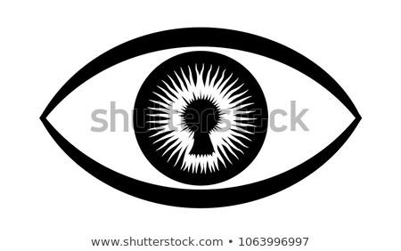 Sleutelgat oog Blauw horloge visie Stockfoto © Balefire9