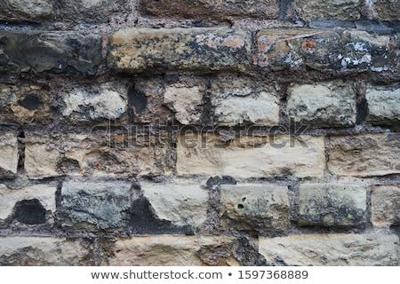 roto · yeso · pared · de · ladrillo · luz · del · sol · textura · graffiti - foto stock © marcogovel