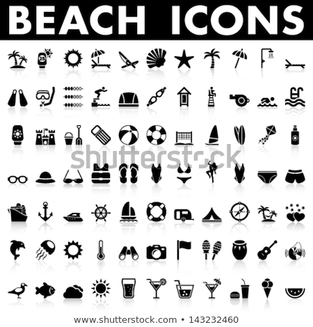 Vector icon beach parasol and chair Stock photo © zzve