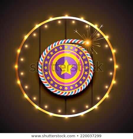 Stock photo: Beautiful shiny decoration vector diwali crackers background  il