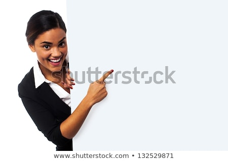 Corporate lady promoting business product Stock photo © stockyimages