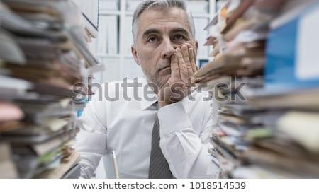 Frustré employé de bureau illustration jeune femme cheveux Photo stock © jorgenmac