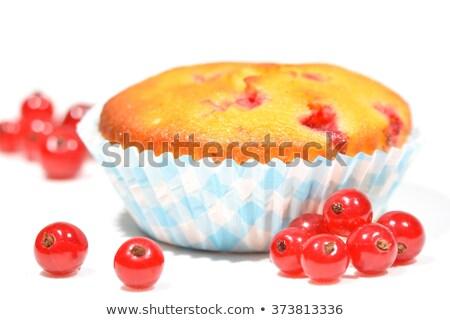 Vörös ribiszke muffinok közelkép szett asztal étel Stock fotó © nito