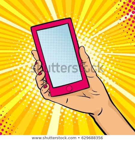 Kéz tart telefon pop art illusztráció vektor Stock fotó © balasoiu