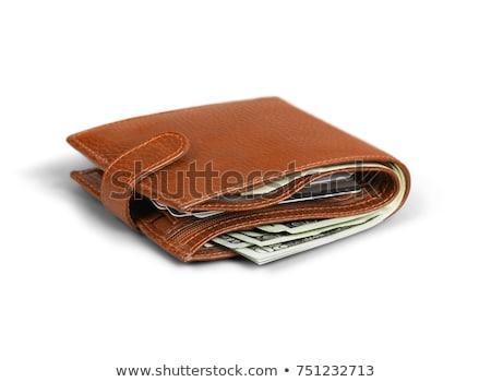 кожа · бумажник · изолированный · белый · фон · Финансы - Сток-фото © elnur