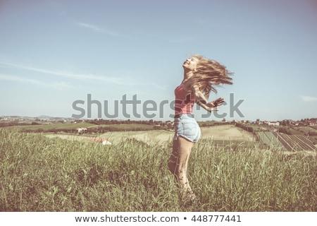 Sarışın kadın ülke stil çekici genç kadın Stok fotoğraf © runzelkorn