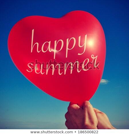 Stockfoto: Gelukkig · zomer · geschreven · ballon · retro · iemand