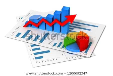Foto stock: 3D · financeiro · traçar · verde · vermelho · financiar