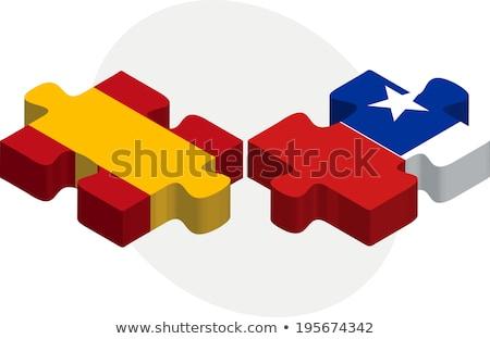 Spanyolország Chile zászlók puzzle izolált fehér Stock fotó © Istanbul2009