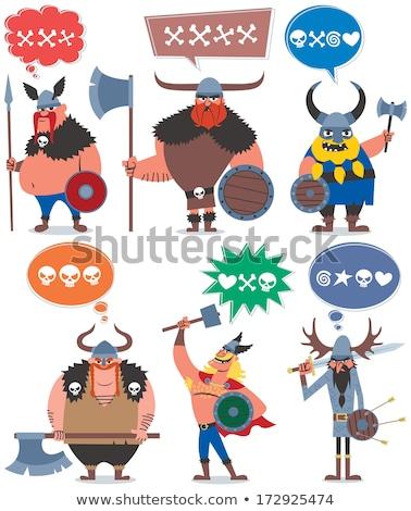 Komische cartoon viking bijl retro Stockfoto © lineartestpilot