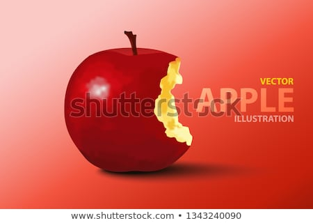 red apple with a missinng bite isolated on white stock photo © lucielang