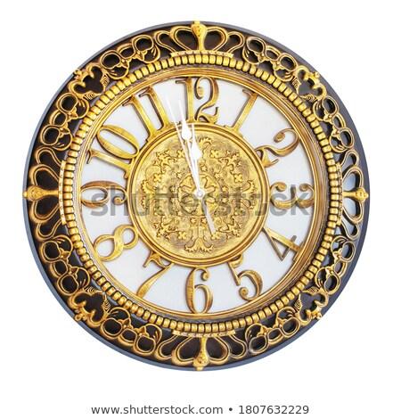 Antiken Uhr isoliert fünf zwölf Zeit Stock foto © ElaK