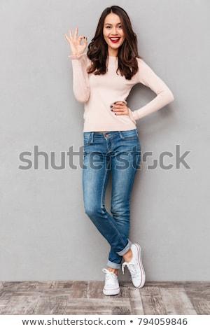 femme · posant · belle · femme · isolé · blanche · mode - photo stock © hsfelix