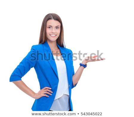Jóvenes mujer de negocios senalando esquina retrato oficina Foto stock © Sonar