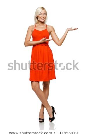 Foto stock: Jovem · beautiful · girl · vestido · vermelho · indicação · isolado · branco