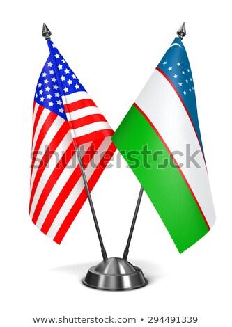 USA Üzbegisztán miniatűr zászlók izolált fehér Stock fotó © tashatuvango