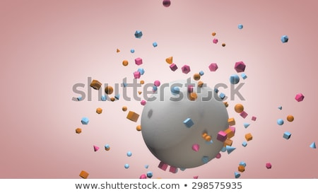 Concrete sphere attracting other geometrical forms Stock photo © radivoje