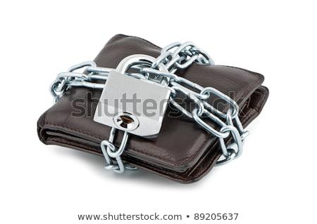 Foto stock: Carteira · trancado · couro · cadeia · fundo · financiar