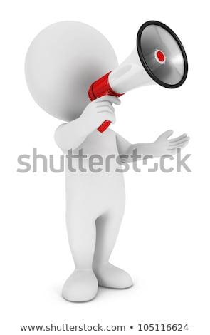 3d · ember · közlemény · hangszóró · fehér · hát · szög - stock fotó © nithin_abraham