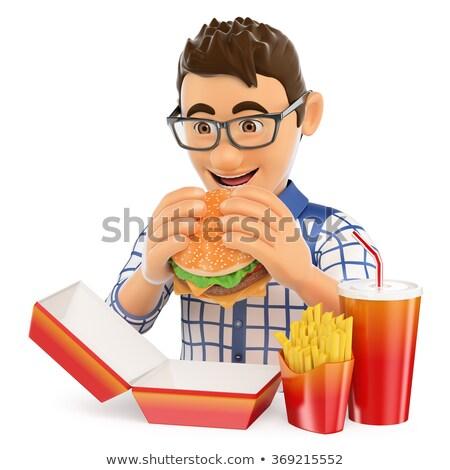 3d man manger Burger blanche côté angle Photo stock © nithin_abraham