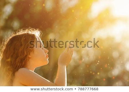 Retrato joven rezando aislado blanco Foto stock © deandrobot