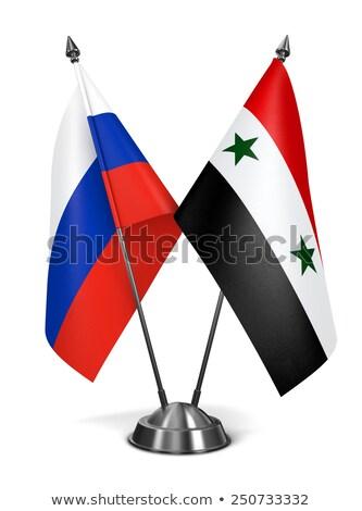 Rusland Syrië miniatuur vlaggen geïsoleerd witte Stockfoto © tashatuvango
