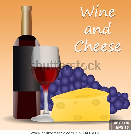 vector of red wine with cheese cookie and grapes stock photo © morphart