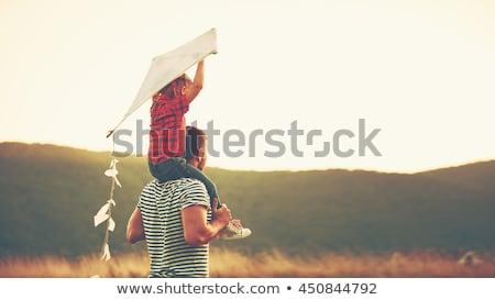 Apa gyermek papírsárkány illusztráció naplemente gyerekek Stock fotó © adrenalina