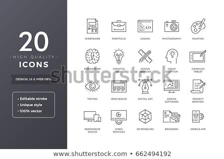 responsivo · projeto · linha · ícone · fino · vetor - foto stock © rastudio