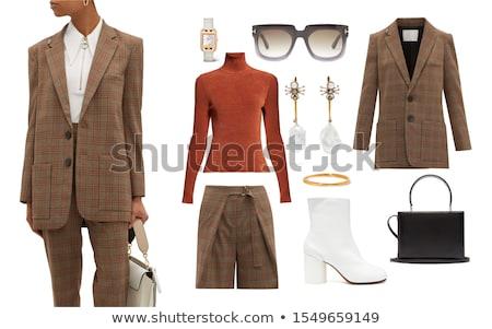 Kadın moda elbise beyaz kız turuncu Stok fotoğraf © Elnur
