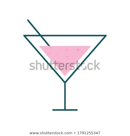 Stock photo: Glass with drinking straw line icon.