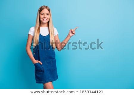 Sarışın saç kız mini mavi elbise Stok fotoğraf © Elnur