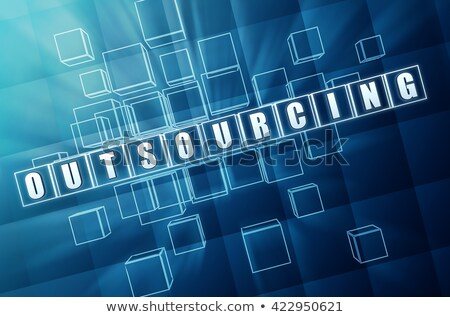 Outsourcing In Blue Glass Cubes 3d Illustration Foto stock © marinini