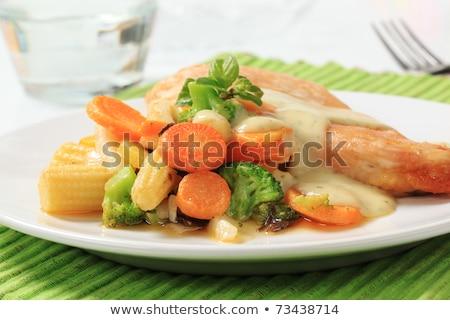 Csirkemell vegyes zöldségek mártás krém vacsora Stock fotó © Digifoodstock